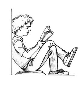 Viñeta joven leyendo un libro papel