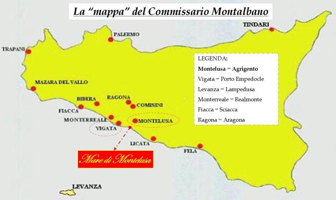 Mapa la Sicilia de Montalbano