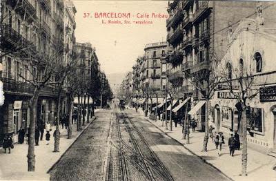 Calle Aribau de Barcelona en los 40