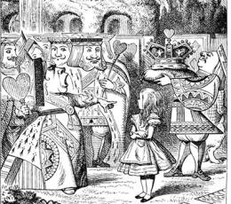 Ilustración de Alicia en el país de las maravillas con la reina de corazones
