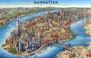 Mapa-de-Manhattan-caricatura